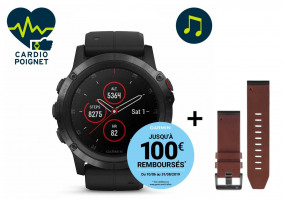 Pack Fenix 5X Plus Black Sapphire + Bracelet cuir QuickFit - 26mm